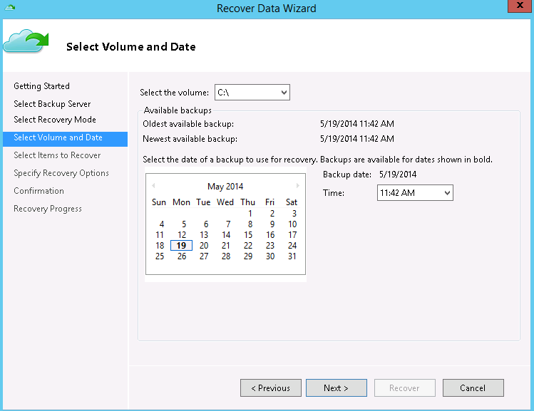 Select volume and date